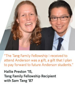 Hallie Preston '15,  Tang Family Fellowship Recipient with Sam Tang '87