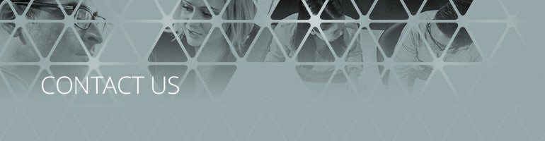 Contact Us Banner - Grey background with 2 executives looking into the distance and 2 executives in conversation with each other, in the background. Triangular shapes in the foreground