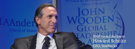 John Wooden Global Leadership Award Dinner 2008. Recipient: Howard Schultz